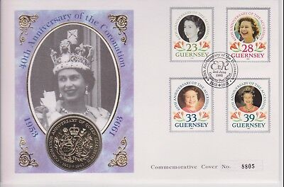Qeii Pnc Coin Cover 1993 Guernsey Coronation Anniversary £2 Coin
