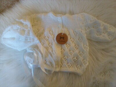 Hand Knitted White Baby Set: Matinee Coat with matching Bonnet -size 0-3 month