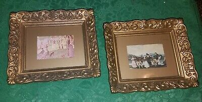 PAIR of BEAUTIFUL Vintage GOLD Syroco ORNATE Small VICTORIAN Framed Prints!