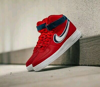 NIKE AIR FORCE 1 High 07 LV8 Chenille Swoosh Gym Red Blue SZ