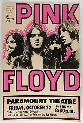 Pink Floyd Oct 22 - Concert VINTAGE BAND POSTERS Song Rock Travel Old Advert #ob