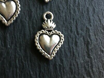 1 New Tierracast Milagro Heart Charm Antiqued Silver Plate Sacred Heart NWT