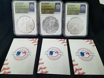 NEW YORK METS 2015 Eagle $1 NGC GEM Uncirculated 1 Oz. Fine Silver