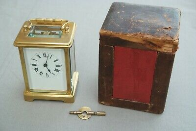 19th Century antique French carriage clock, key and original case.