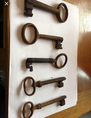 Antique Victorian Large Iron Lock Keys-Church Chapel Public Building Farm Old