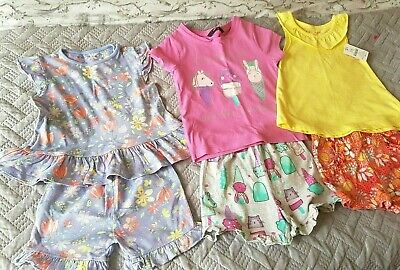 Girls 11 Pcs Summer Shorts and T-Shirt Bundle Sets 2-3 Years Some BNWT