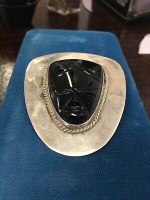 Mexican sterling silver carved black onyx face mask brooch
