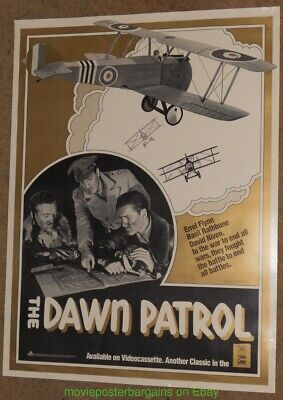 DAWN PATROL MOVIE POSTER ERROL FLYNN 21x28 Inch 1985 Video Store Distribution