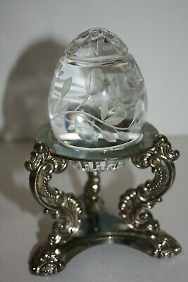 Sullivan's cut crystal egg with Godinger silver plate stand