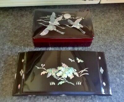 2 ASIAN BLACK LACQUER JEWELRY BOX ABALONE INLAY FLYING BIRDS and Flowers pearl