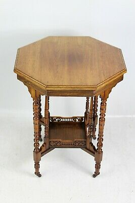 Small Victorian Arts & Crafts Walnut Side Table - Coffee Lamp Hall Side Table