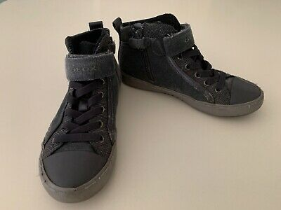 Geox Girls Size 13 (EU32) HIGH TOP Leather Trainers With Side Zips