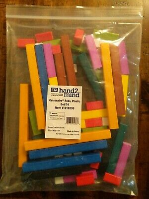 Assorted Colors Wooden-Alternative Cuisenaire Rods Set of 74 hand2mind Plastic