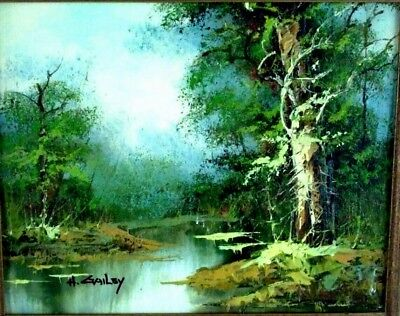 VTGE 1970's Signed H Gailey Naturescape Stream Framed Oil Painting 10 x 8 inches