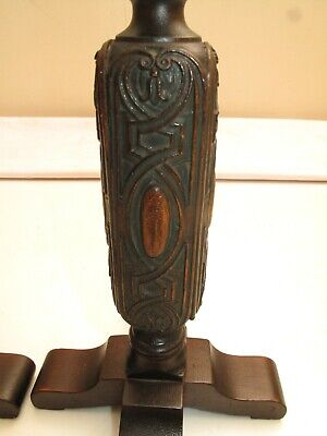 Antique Mahogany Ornate Carved Wood Yarn Gothic Spindles Mantel Decor Victorian