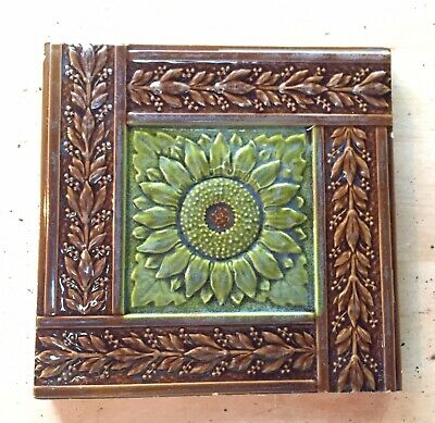 "Antique Original 6"" Floral Minton Hollins Glazed Glass Ceramic Fireplace Tile"