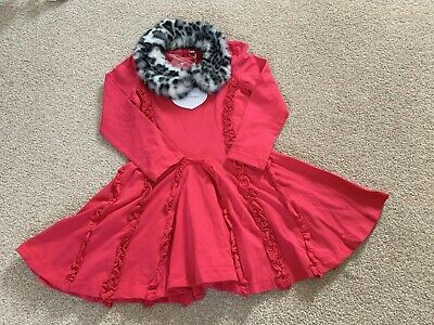 A Dee Ariana Dee Winter Berry Red Dress Snow Leopard Faux Fur Collar Age 5 Years