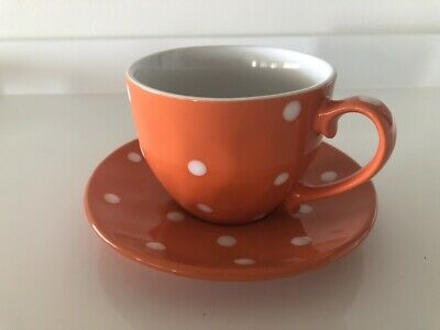 Maxwell & Williams 'Sprinkle' Orange Polkadot Cup and Saucer