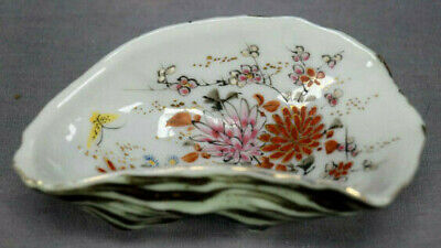 19th Century Kutani Hand Painted Floral & Butterfly Single Serving Oyster Dish