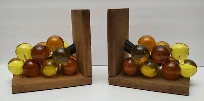 Vintage Lucite Glass Acrylic Grape Cluster Amber Orange Yellow Bookend