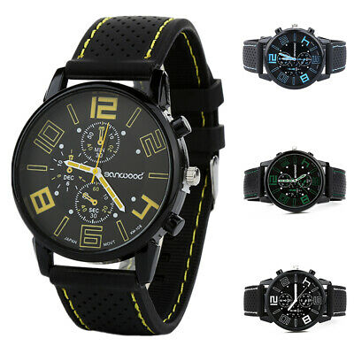 Fashion Men Casual Quartz Analog Wrist Watch Silicone Band Stainless Steel Round
