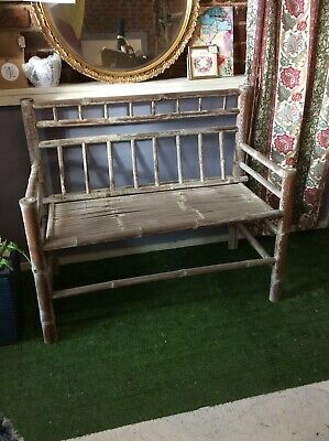 Vintage Split Bamboo Two Seater Outside Garden Bench Seat