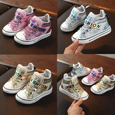 New Toddler Children Kids Baby Girls Boys Bling Letter Mesh Boots Sneakers Shoes