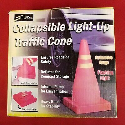 Collapsible Flashing Light Up Orange Traffic Cone Reflective Rings Built-in Pump