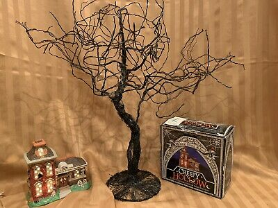 "Black Halloween Wire Glitter Spooky Tree Display 24""H x 24"" W x 8"""