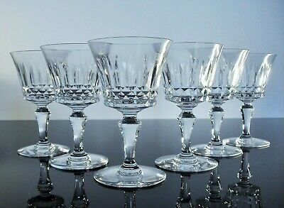 Antique Large 6 Glasses Wine Crystal Size Moulded Piccadilly Baccarat Signed