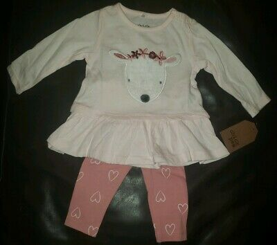 Chick Pea Girls Two Piece Top And Leggings Pink Deer 0-3 Months