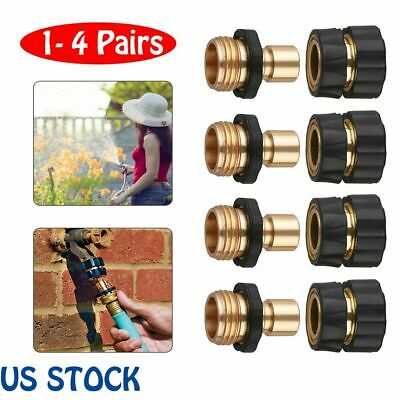 1-4Prs Universal Garden Hose Quick Connect Set Brass Hose Tap Adapter Connectors