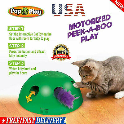 Pop N'Play Interactive Motion Cat Toy Mouse Tease Electronic Pet Toys HOT~