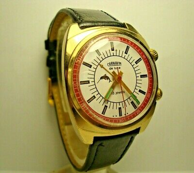 Poljot Carnavin 18 jewels AU Gold Plated men wrist watch Alarm USSR RARE