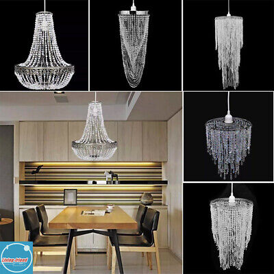 Light Lampshade Chandelier Ceiling Light Shade Droplet Pendant Crystal Bead