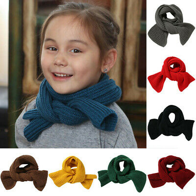 Toddler Boys Girls Baby Kid Fashion Knitted Scarf Autumn Winter Warm Solid Scarf