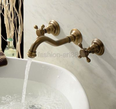 Antique Brass Bathroom Sink Faucet Wall Mount 3 Holes Tub Mixer Tap ftf050