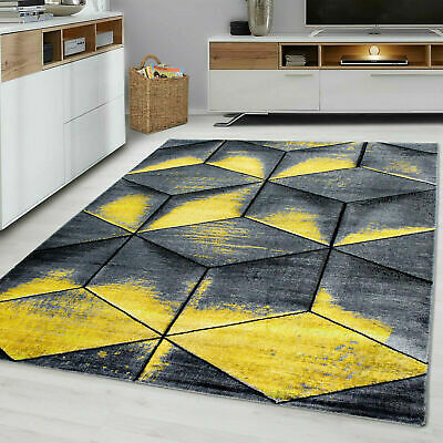 Cubic 9290 Ochre Yellow Grey Mustard Gold Rug Floor Bedroom Large Carpet Rugs