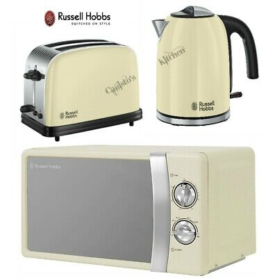 Cream Russell Hobbs Colours Plus Kettle and Toaster Set and Microwave - New