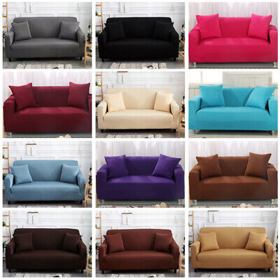 52 Style Pure Color Stretch Elastic Fabric Sofa Sectional Couch Cover 1-4 Seater