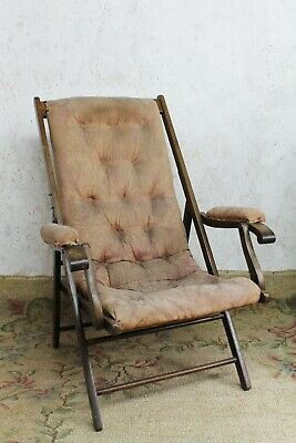 Antique Folding Campaign Chair Mahogany 19th Century Damask Upholstered