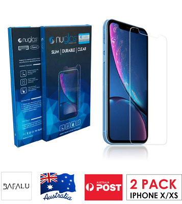 2 X Nuglas Tempered Glass Protector for iPhone X/Xs Premium/ Quality- 2 pack