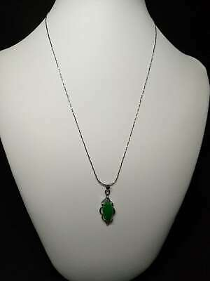 Exquisite Silver Inlaid Natural Jade Necklace & Pendant z311