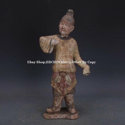 """17"""" Collect Old China Tang Three Colour Porcelain Pottery Man Statue Sculpture"""