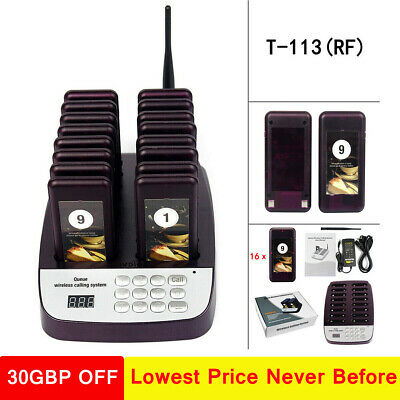 Restaurant/Cafe Wireless Guest Paging Queuing System 999CH +16*Coaster Pagers UK