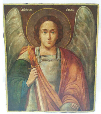 Antique 19th C Russian Hand Painted Large Icon of the Archangel Michael  49 cm