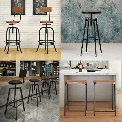 Industrial Vintage Wooden Chair Footrest Backrest Rustic Counter Bar Stool Cafe