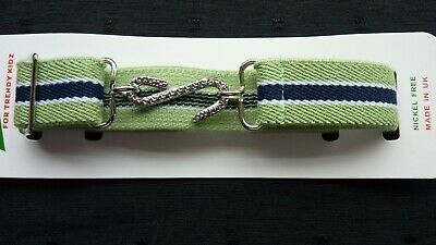 STRETCHY SNAKE BELTS/BOYS/GIRLS/CHILDRENS/KIDS.GREEN with navy and white stripes