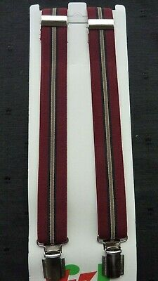 BRACES for BOYS/GIRLS/CHILDREN -NEW - GREY AND WINE STRIPES,  1-6 yrs. UK MADE