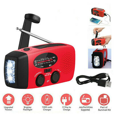 Dynamo Wind Up, Solar, & USB Rechargeable Hand Crank Portable AM FM Radio Light